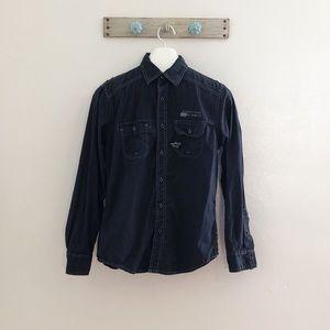 English Laundry S Black Aviator Button Up Shirt